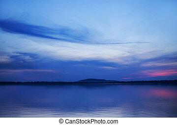 film, felett, művészet, tó, napnyugta