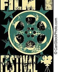 Film festival poster. Retro typogra