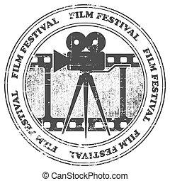 film, festival, stämpel