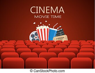 film, fila, teatro, rosso, posti