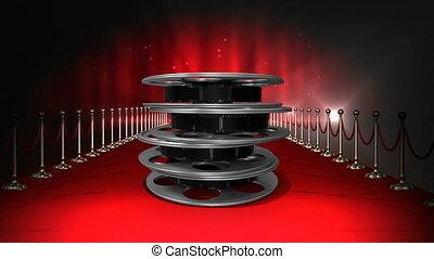 film film, rouges, bobines, lumières, clignotant, moquette