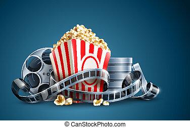 film filma, rulle, och, popcorn