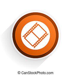 film flat icon with shadow on white background, orange modern design web element