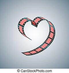 Film folded in shape of a heart