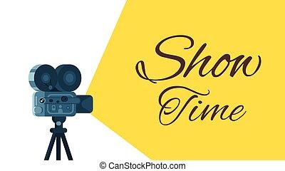 film, fond, retro, appareil-photo.