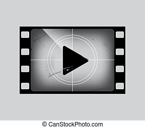 Film frame with play simbol isolated on grey. Vector grunge film strip part.