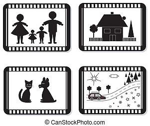 Film frames for family photo album