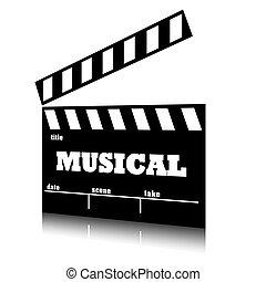 film, genre., muzyczny, klepać, kino