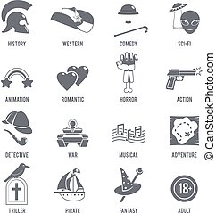 Film Genres Icons Black Set