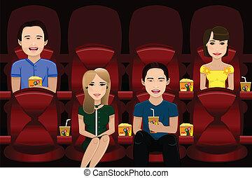 film, gens, regarder