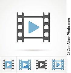 film, gra, modny, multi, style, icon., wektor
