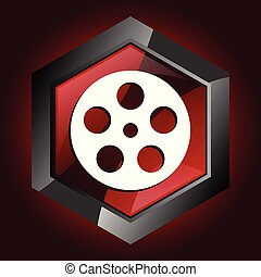 Film hexagonal glossy dark red and black web icon, vector illustration in eps 10