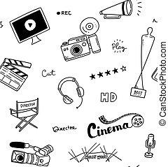 film, hintergrund, gekritzel