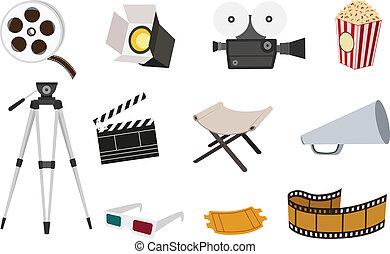 film, icône, ensemble