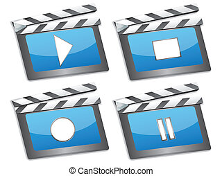 film, icônes, bardeau, cinéma