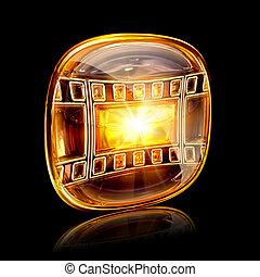 film icon amber, isolated on black background