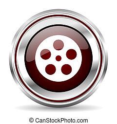 film icon chrome border round web button silver metallic pushbutton
