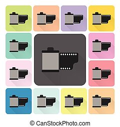 Film Icon color set vector illustration