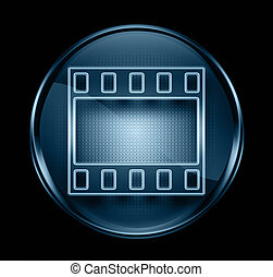 Film icon dark blue, isolated on black background.