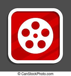 Film icon. Flat design square internet banner.
