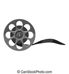 Film icon, gray monochrome style - Film icon. Gray...
