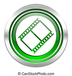 film icon, green button, movie sign, cinema symbol