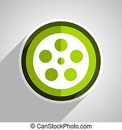 film icon, green circle flat design internet button, web and mobile app illustration