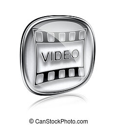 Film icon grey glass, isolated on white background.