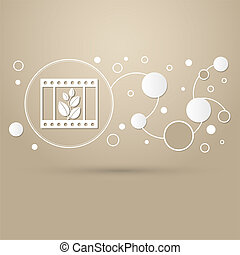 film Icon on a brown background with elegant style and modern design infographic.