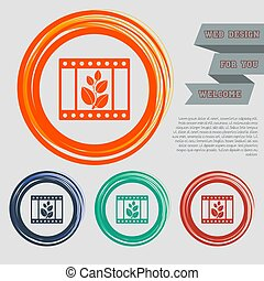 film Icon on the red, blue, green, orange buttons for your website and design with space text. Vector