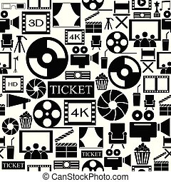 film, icon., seamless, background charakter
