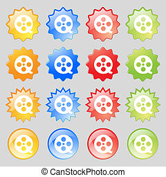 Film icon sign. Big set of 16 colorful modern buttons for your design.