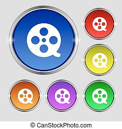 Film icon sign. Round symbol on bright colourful buttons. Vector