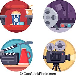 Film industry concept. Filming on camera and premiere in cinema