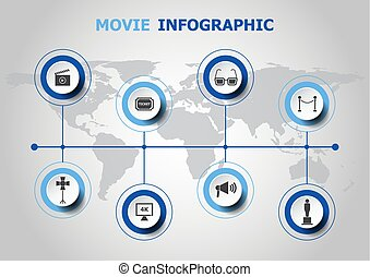film, infographic, ontwerp, iconen