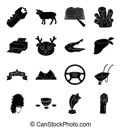 film, instrument, cars, taxi and other web icon in black style.animal, computer, police icons in set collection.