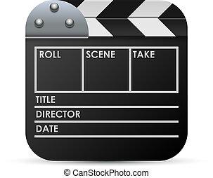 film, isolé, arrière-plan., vecteur, blanc, bardeau, icône