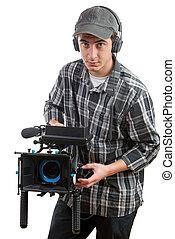 film, kameramann, fotoapperat, junger