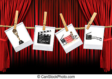 film, kapcsolódó, termelés, műterem, részlet, film