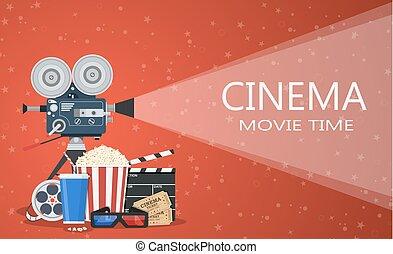 Karten, premiere, weisen, film, kino, banner, vektor,... Vektor ...