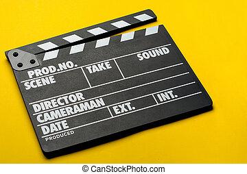 film, kläpp, på, gul fond, bio, begrepp