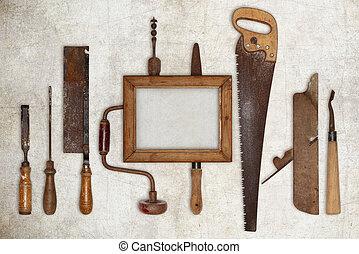 film, kollázs, keret, munka, ács, erdő, eszközök