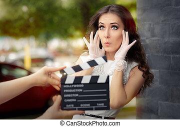 film, lövés, meglepődött, színésznő