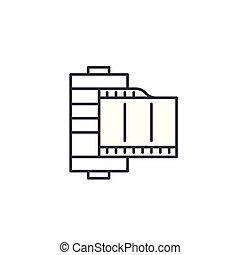 Film linear icon concept. Film line vector sign, symbol, illustration.