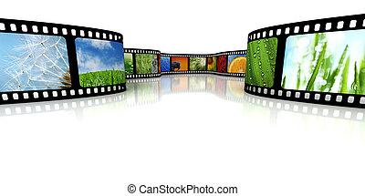 film, med, avbildar