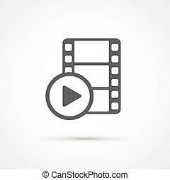 film, media, gra, modny, icon., wektor