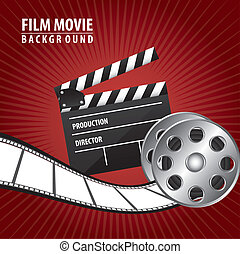 film movie with clappler board over red background. vector