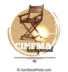 film, mozi, transzparens, noha, kéz, húzott, skicc, ábra