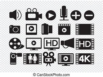 film, multimédia, vidéo, icônes