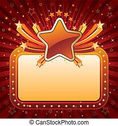 film, néon, étoiles, signe